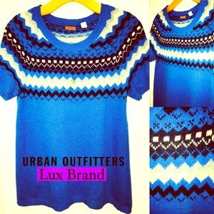 Urban Outfitter Lux Argyle Short Sleeve Sweater